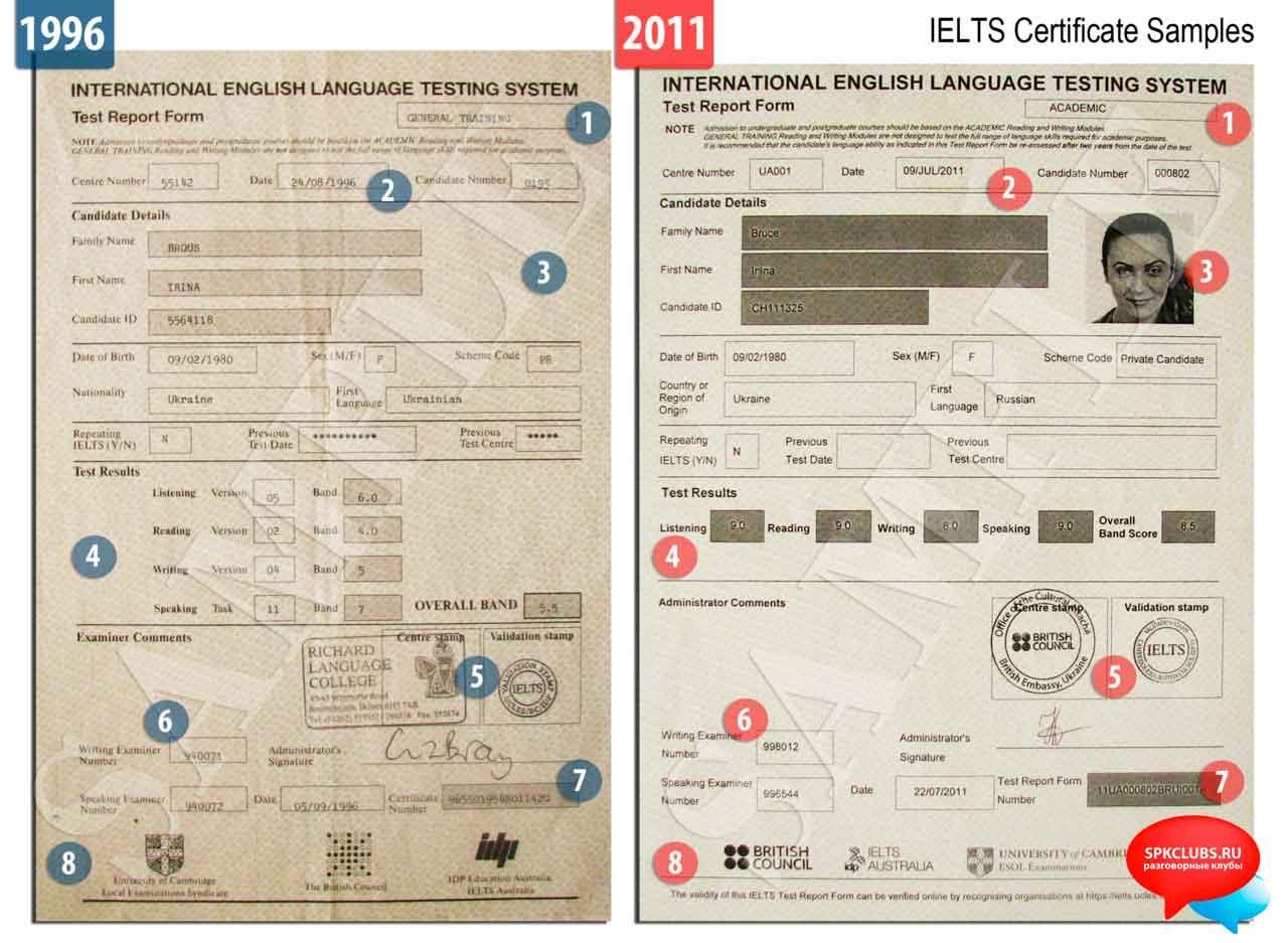 Как выглядит сертификат IELTS, пример