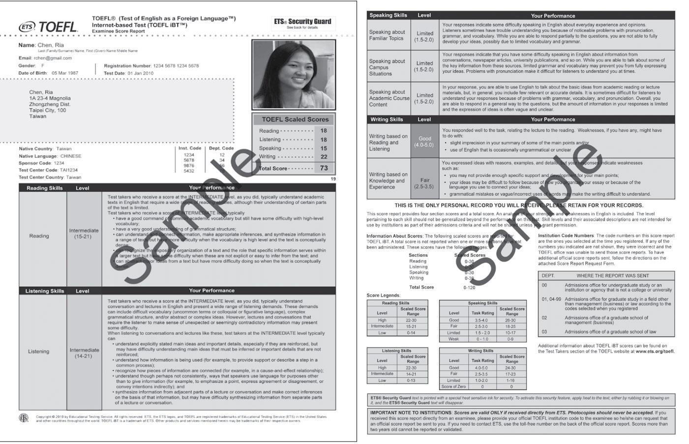 Как выглядит сертификат TOEFL, пример